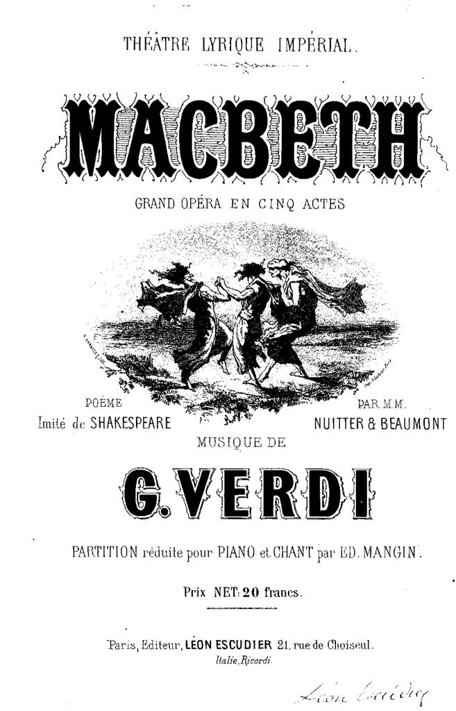 Verdi Macbeth francese 1865 Escudier